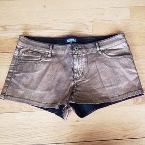 Forever 21 Black Denim With Gold Finish Shorts